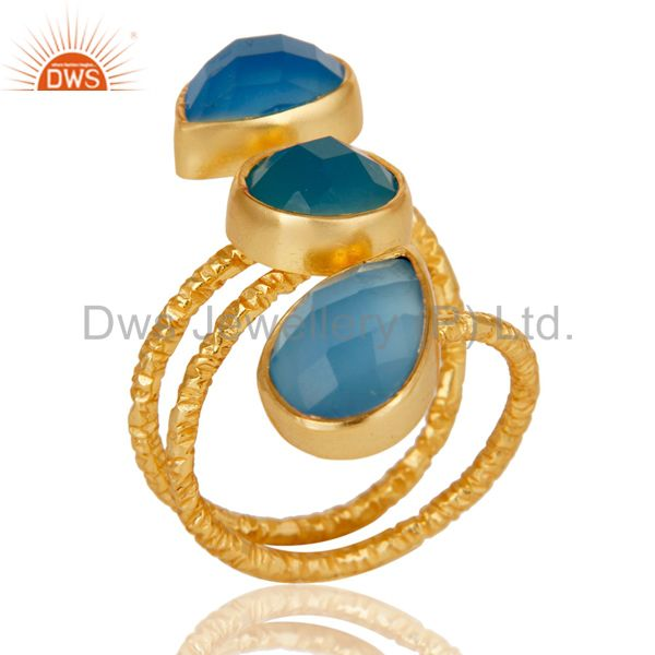 Handmade Chalcedony Sterling Silver Prong Set Joint Ring with 18k Gold Plated