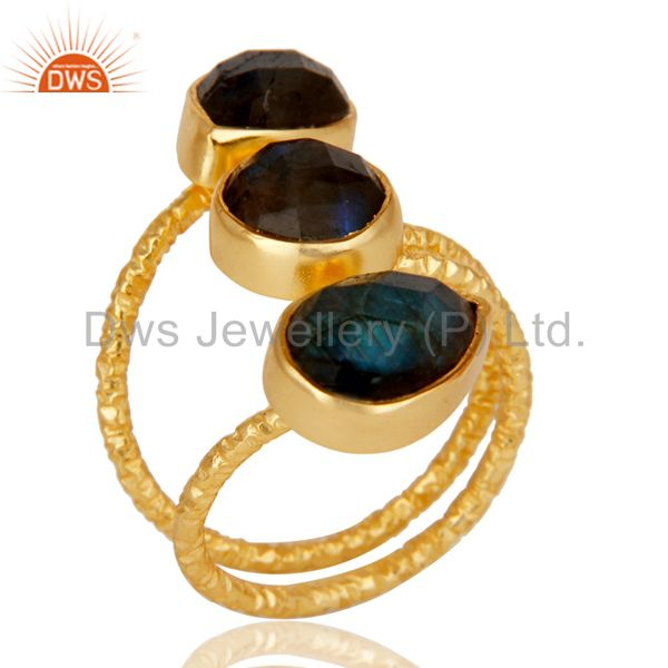 Fine Labradorite Sterling Silver Prong Set Joint Ring with 18k Gold Plated