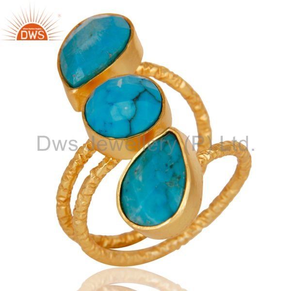 Natural Turquoise 925 Sterling Silver Prong Set Joint Ring With 18k Gold Plated
