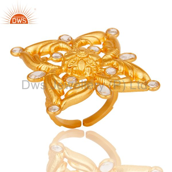 18k Gold Plated Sterling Silver Flower Design Ring with White Zircon
