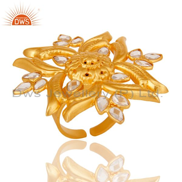 18k Yellow Gold Plated 925 Sterling Silver Flower Design Ring with White Zircon