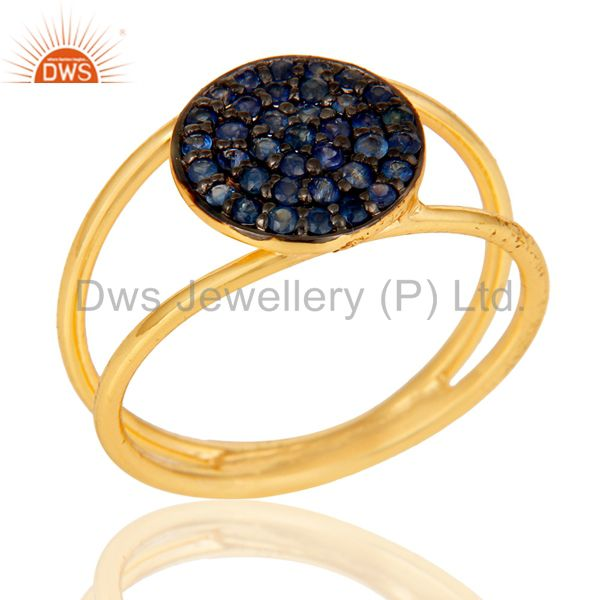 18k Yellow Gold Plated 925 Sterling Silver Blue Sapphire Statement Ring