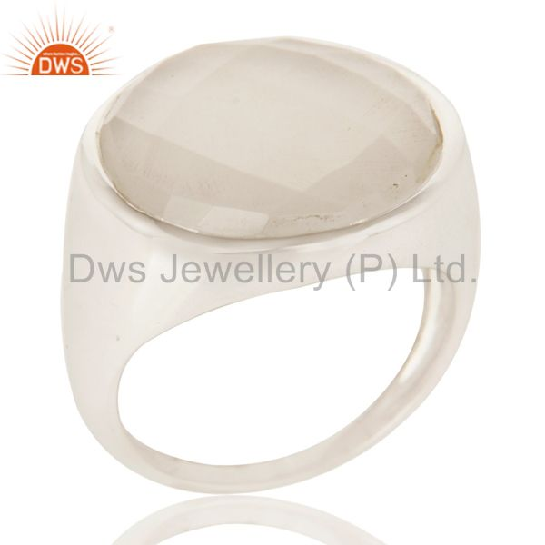 Natural Chalcedony Fashion Dome Design 925 Sterling Silver Ring
