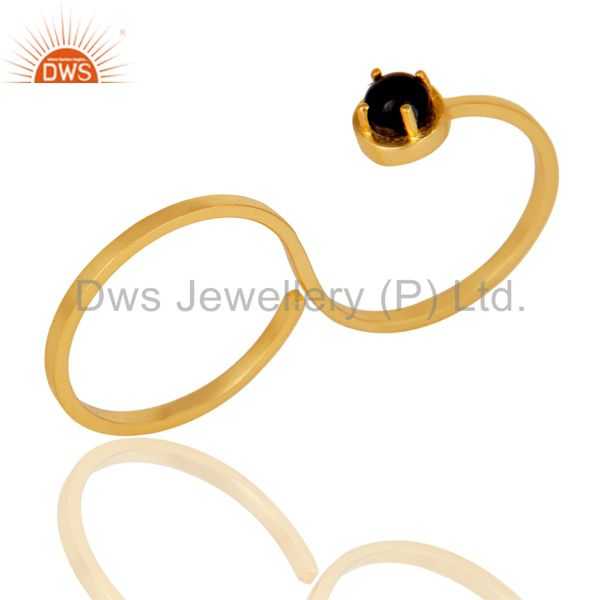 Double Finger New Fashion Black Onyx Gemstone Brass Ring With 18K Gold Plated