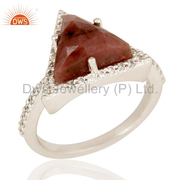 Solid 925 Sterling Silver Checkered Rhodonite & White Zirconia Statement Ring
