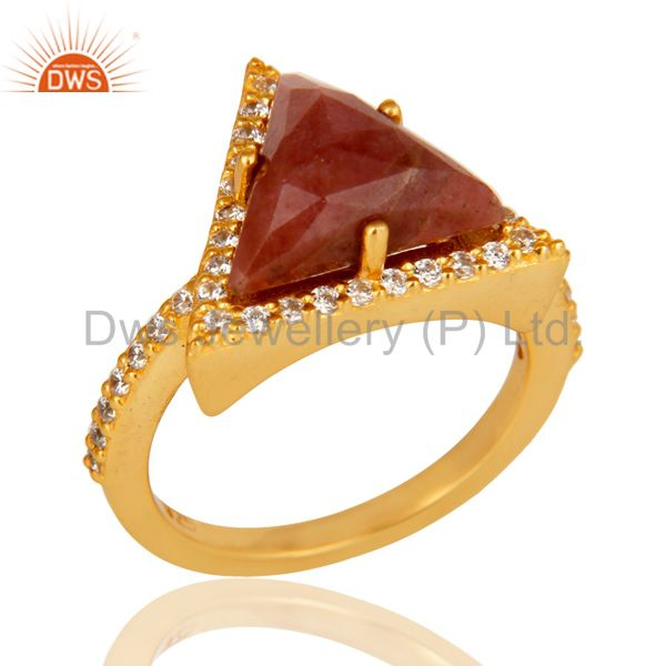 24K Gold Plated 925 Sterling Silver Rhodonite & White Zirconia Statement Ring
