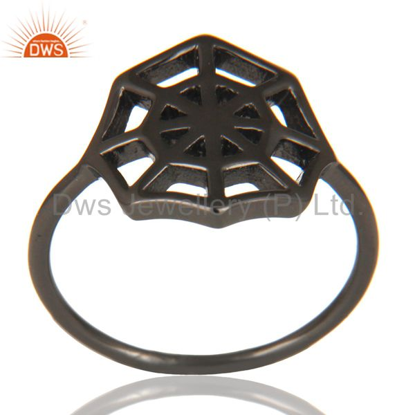 Black Oxidized 925 Sterling Silver Handmade Spider Web Design Cocktail Ring