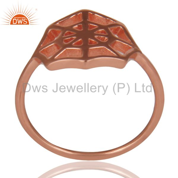 14K Rose Gold Plated Sterling Silver Handmade Spider Web Design Cocktail Ring