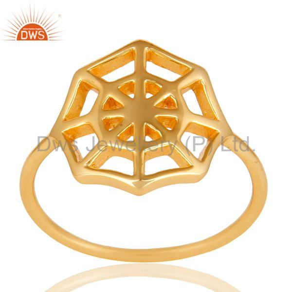 14K Yellow Gold Plated Sterling Silver Handmade Spider Web Design Cocktail Ring