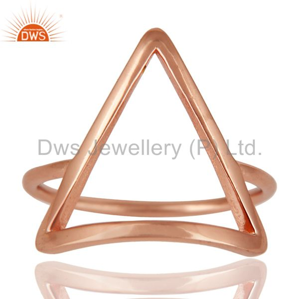 14K Rose Gold Plated Sterling Silver Handmade Art Trillion Design Stackable Ring