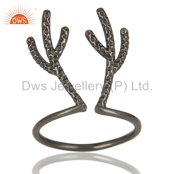 Black Oxidized 925 Sterling Silver Handmade Tree Design Knuckle Ring