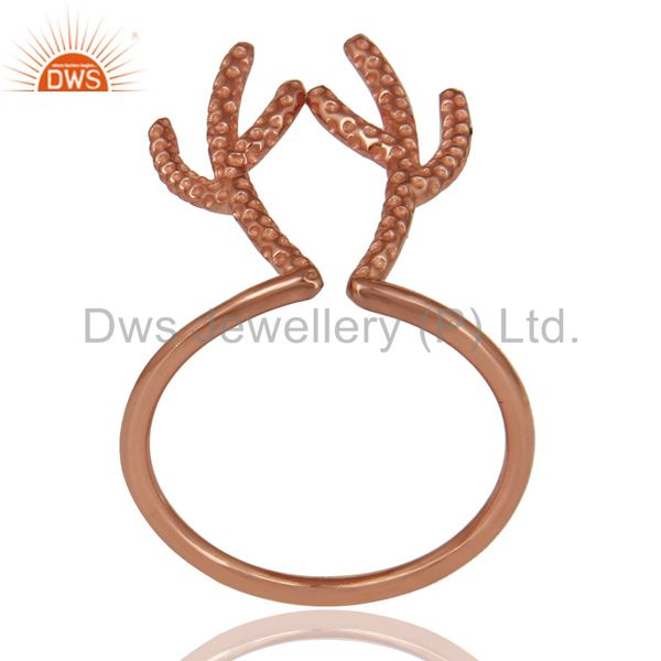 14K Rose Gold Plated 925 Sterling Silver Handmade Tree Design Knuckle Ring