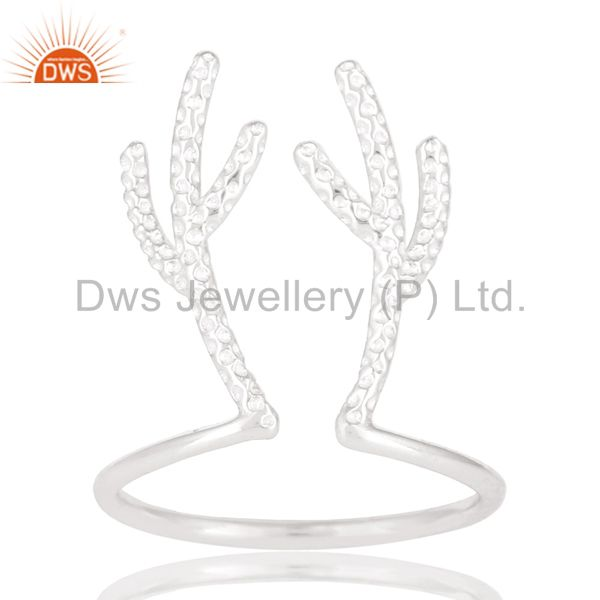 Solid 925 Sterling Silver Handmade Art Tree Design Knuckle Ring Jewelry
