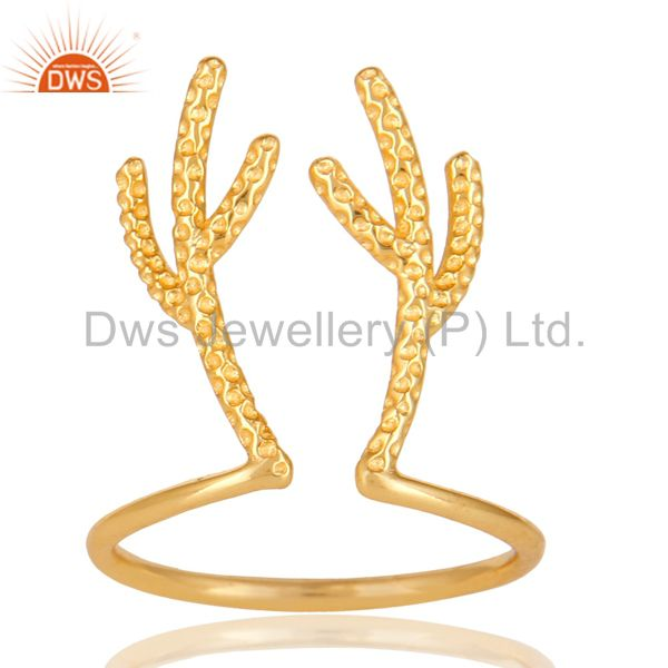 14K Yellow Gold Plated 925 Sterling Silver Handmade Tree Design Knuckle Ring