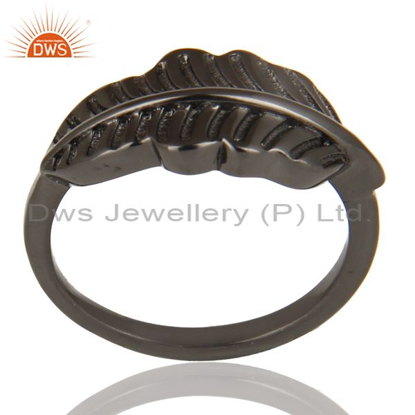 Black Oxidized 925 Sterling Silver Handmade Jointing Leaf Design Stackable Ring