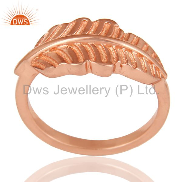 14K Rose Plated 925 Sterling Silver Handmade Jointing Leaf Design Stackable Ring