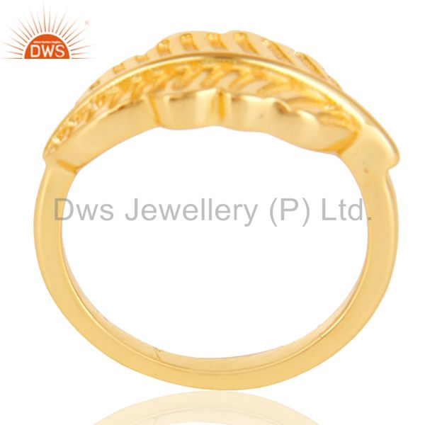 14K Gold Plated 925 Sterling Silver Handmade Jointing Leaf Design Stackable Ring