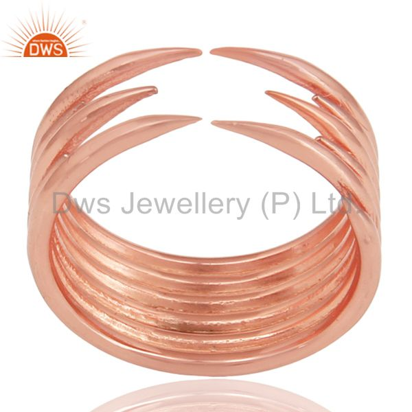 14K Rose Gold Plated Sterling Silver Handmade Six Line Design Stackable Ring