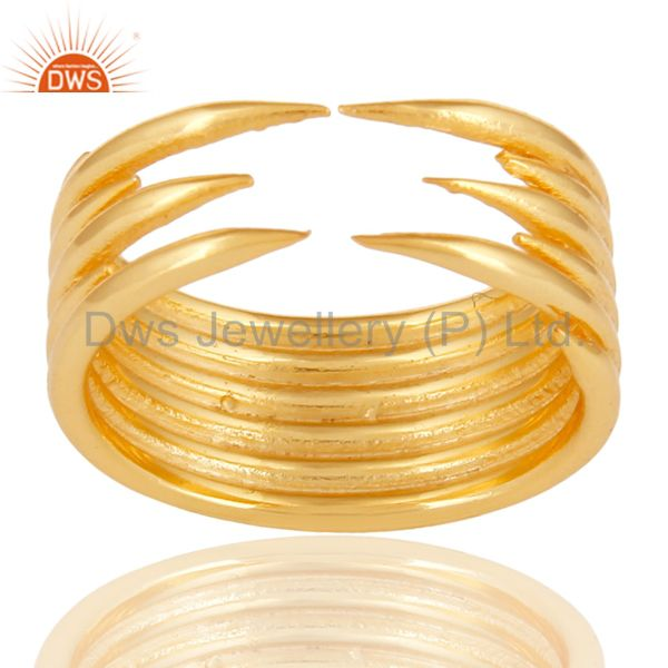 14K Yellow Gold Plated Sterling Silver Handmade Six Line Design Stackable Ring
