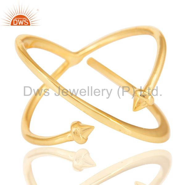 14K Yellow Gold Plated Sterling Silver Handmade Pyramid Design Stackable Ring