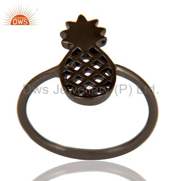 Black Oxidized 925 Sterling Silver Handmade Art Pineapple Design Cocktail Ring