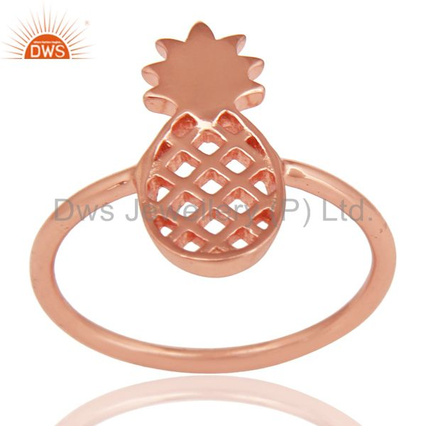 14K Rose Gold Plated Sterling Silver Handmade Art Pineapple Design Cocktail Ring