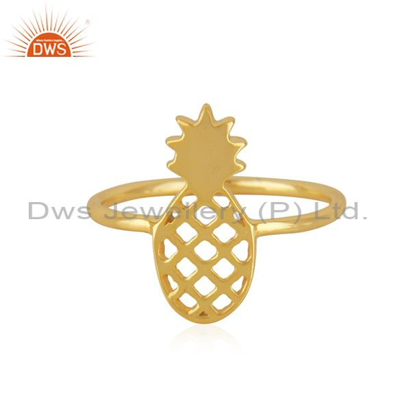 14K Yellow Gold Plated Sterling Silver Handmade Pineapple Design Cocktail Ring