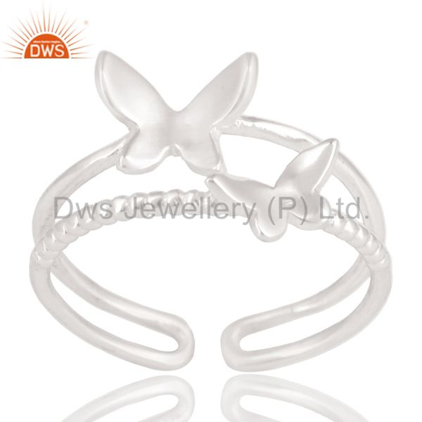 Solid 925 Sterling Silver Handmade Art Butterfly Design Stackable Ring