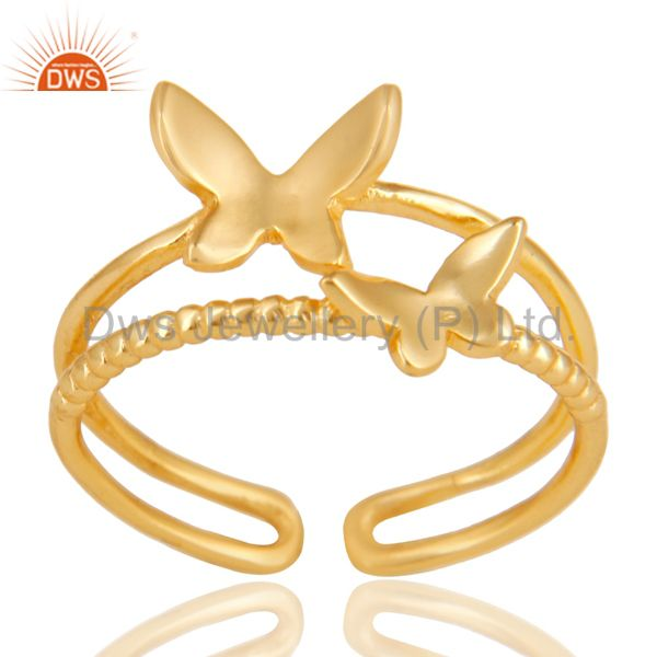 14K Yellow Gold Plated Sterling Silver Handmade Butterfly Design Stackable Ring