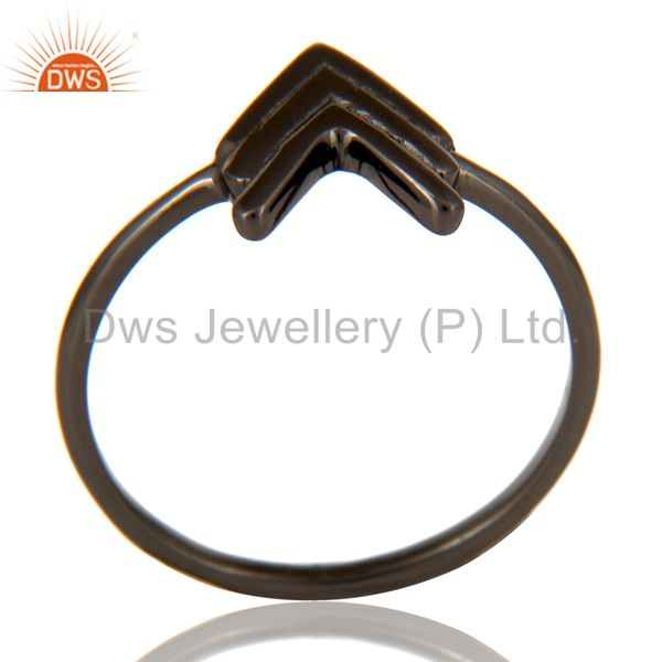 Black Oxidized 925 Sterling Silver Handmade Art Arrow Design Stackable Ring