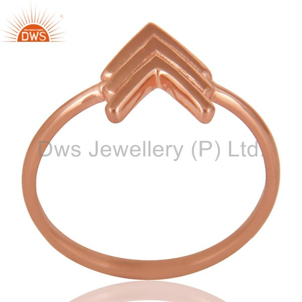 14K Rose Gold Plated Sterling Silver Handmade Art Arrow Design Stackable Ring