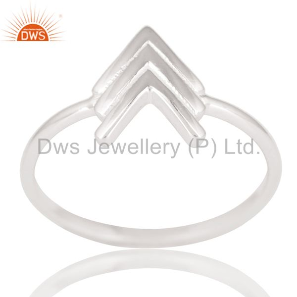 Solid 925 Sterling Silver Handmade Art Arrow Design Stackable Ring