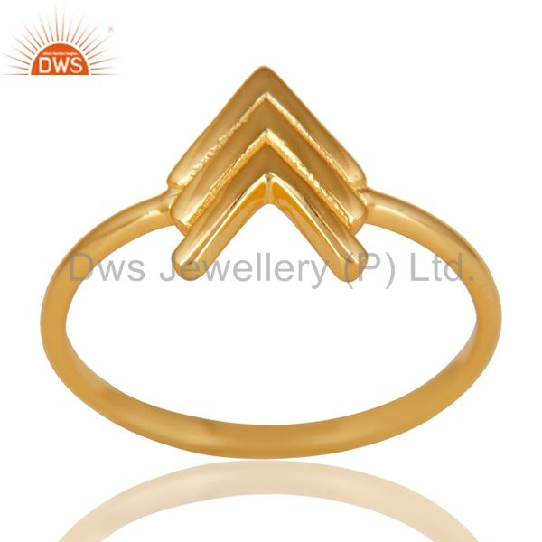14K Gold Plated 925 Sterling Silver Handmade Art Arrow Design Stackable Ring