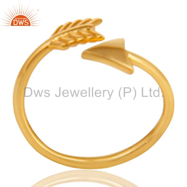 14K Yellow Gold Plated 925 Sterling Silver Handmade New Fashion Design Ring