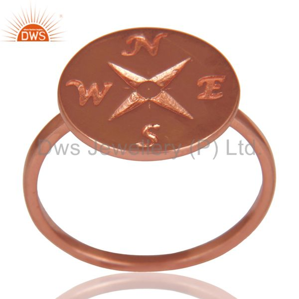 14K Rose Gold Plated Sterling Silver Handmade Astrology Design Cocktail Ring