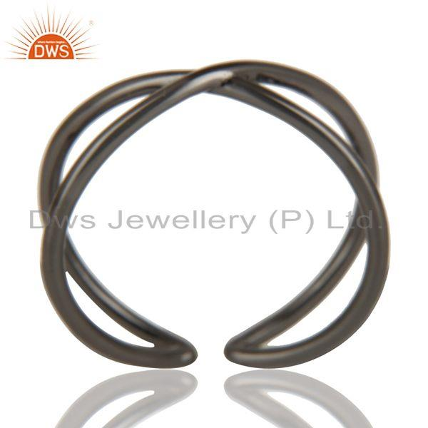 Black Oxidized 925 Sterling Silver Handmade Infinity Stylish Stackable Ring