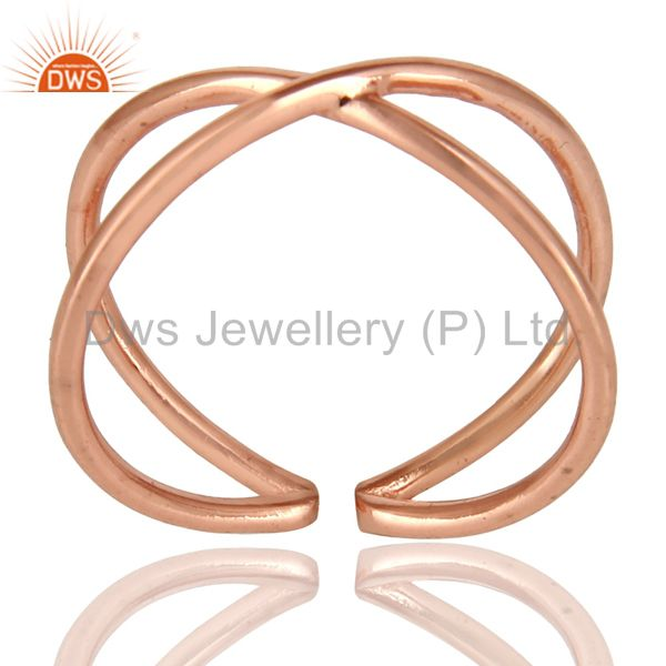 14K Rose Gold Plated Sterling Silver Handmade Infinity Stylish Stackable Ring
