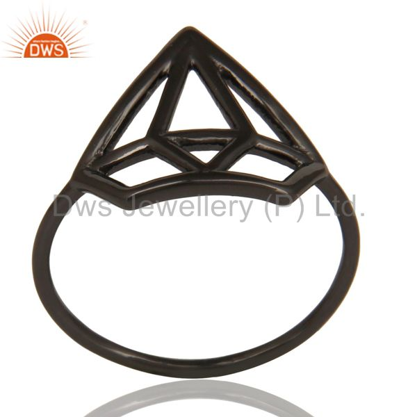 Black Oxidized 925 Sterling Silver Handmade Without Stone Style Stackable Ring