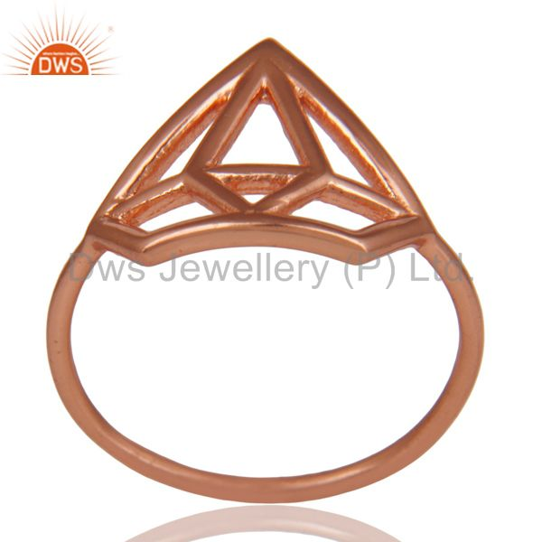 14K Rose Gold Plated 925 Silver Handmade Without Stone Style Stackable Ring