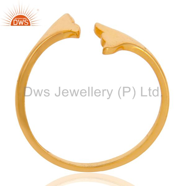 14K Yellow Gold Plated Sterling Silver Handmade Beautiful Fashion Stackable Ring