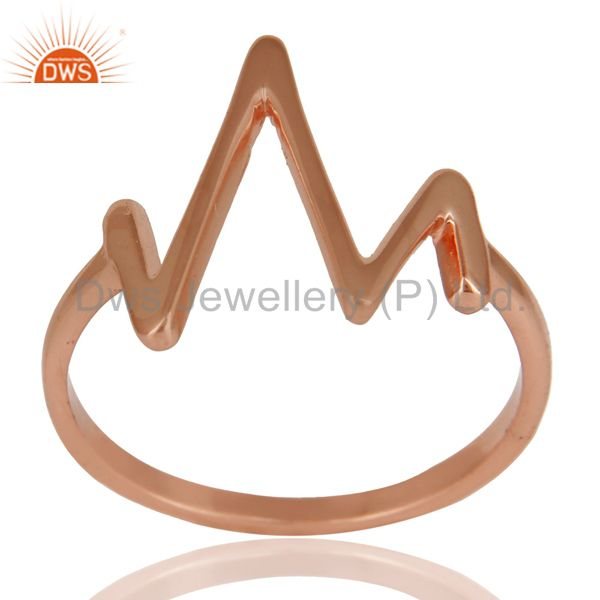 14K Rose Gold Plated Sterling Silver Handmade Zig Zag Design Stackable Ring