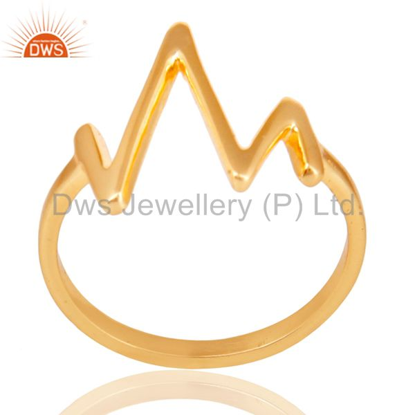 14K Yellow Gold Plated Sterling Silver Handmade Zig Zag Design Stackable Ring
