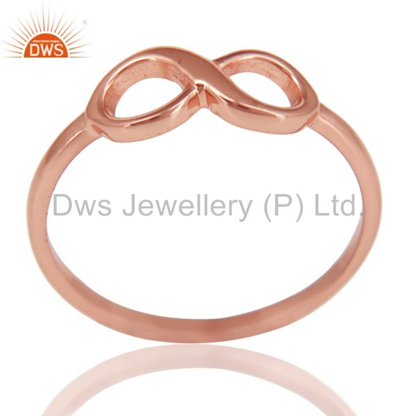 14K Rose Gold Plated Sterling Silver Handmade Without Stone Infinity Toe Ring