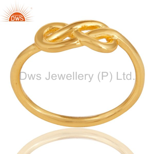 14K Yellow Gold Plated 925 Sterling Silver Without Stone Beautiful Fashion Ring