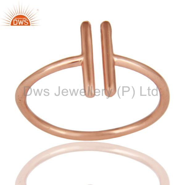 14K Rose Gold Plated 925 Sterling Silver Handmade Art Spacing Fashion Ring