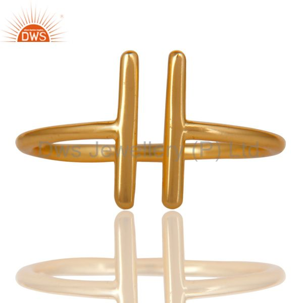14K Yellow Gold Plated 925 Sterling Silver Handmade Art Spacing Fashion Ring