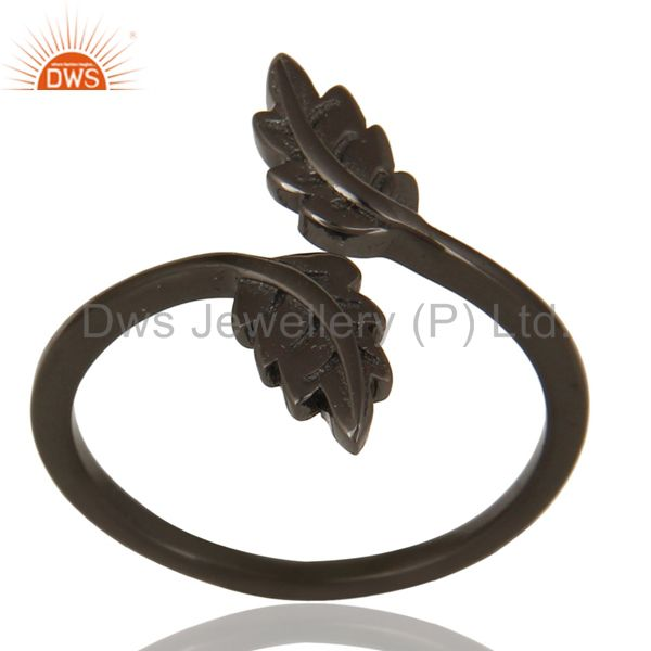 Black Oxidized 925 Sterling Silver Handmade Leaf Band Design Stackable Ring