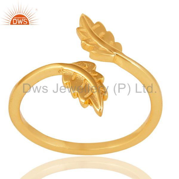 14K Gold Plated 925 Sterling Silver Handmade Leaf Band Design Stackable Ring