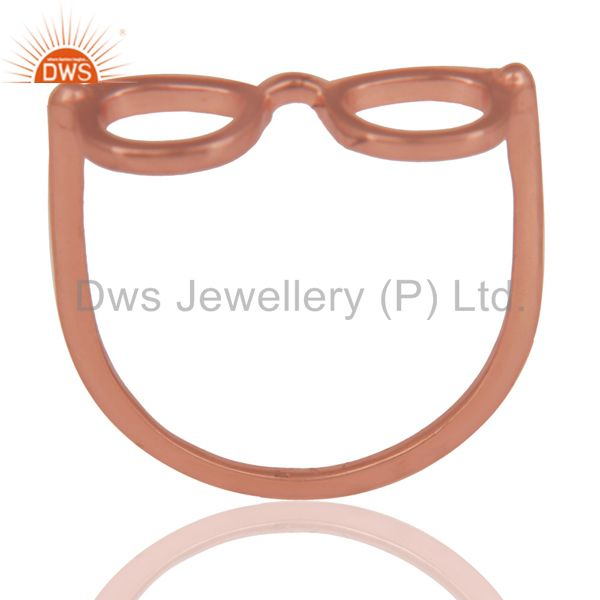 14K Rose Gold Plated Sterling Silver Handmade Art Goggle Design Stackable Ring
