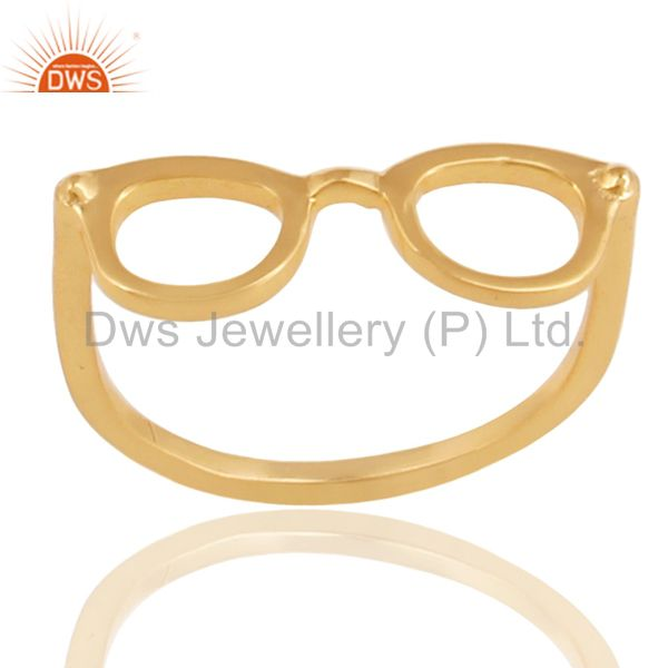14K Yellow Gold Plated Sterling Silver Handmade Art Goggle Design Stackable Ring